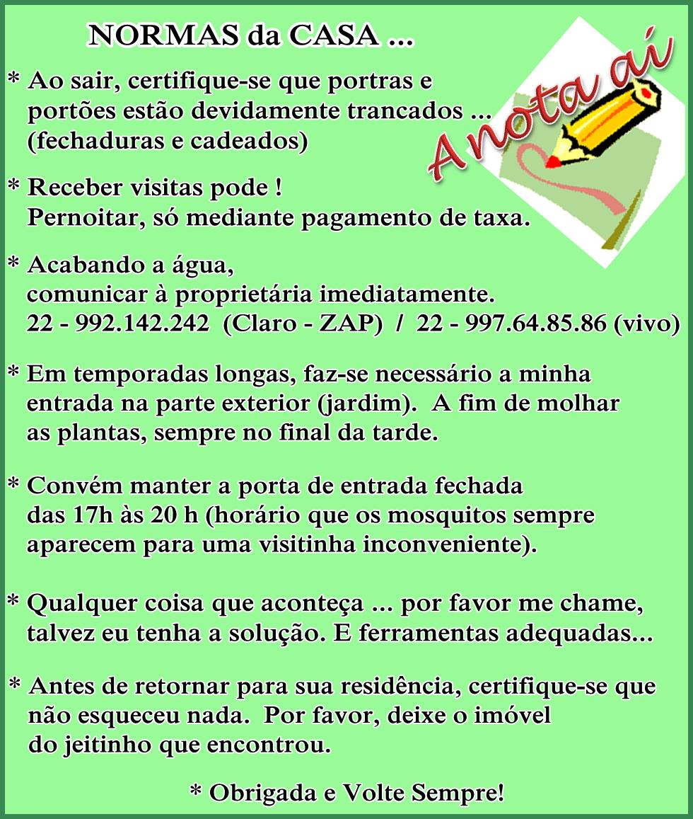 NORMAS da CASA ...