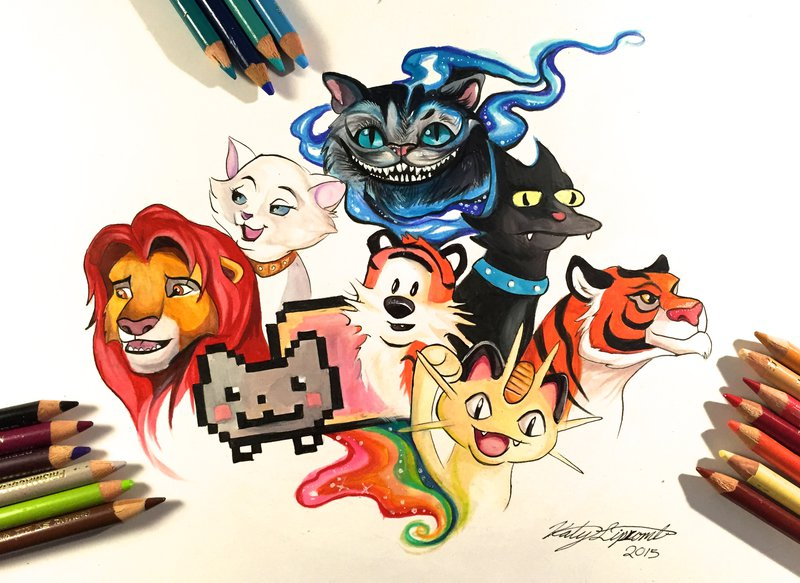 02-Cats-Katy-Lipscomb-Lucky978-Fantasy-Watercolor-Paintings-Colored-Pencils-Drawings-www-designstack-co