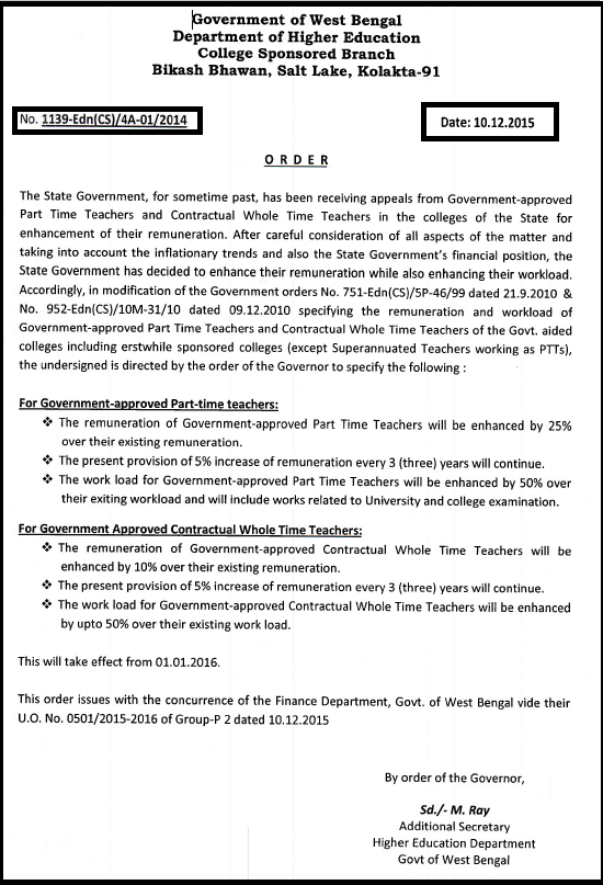 PTT & CWTT Monthly Remuneration/Salary Enhancement Related Latest News Eisamay December 2015