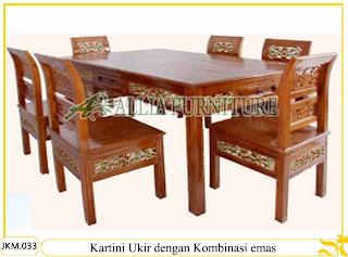 Kursi dan Meja Makan Kayu Jati dengan kombinasi emas Ukiran Kartini Ukir