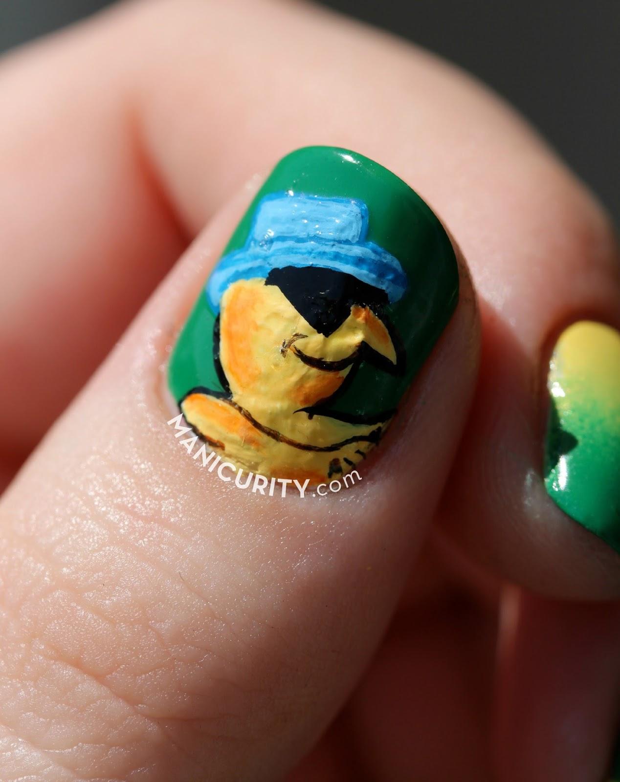 Pollo Tropical Nail Art - bold nail art on short nails | Manicurity.com