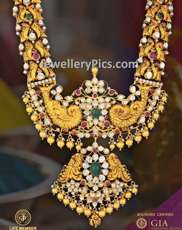 heavy work diamond studded bridal haram