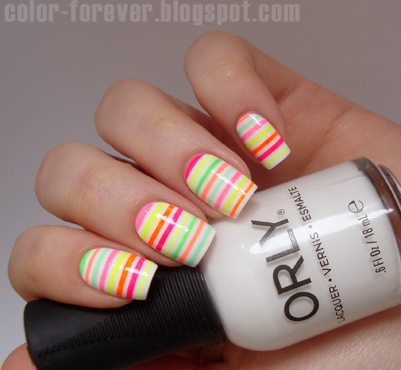 Nail Art Using Striping Tape: Color Forever: Neon Striping Tape Nail Art
