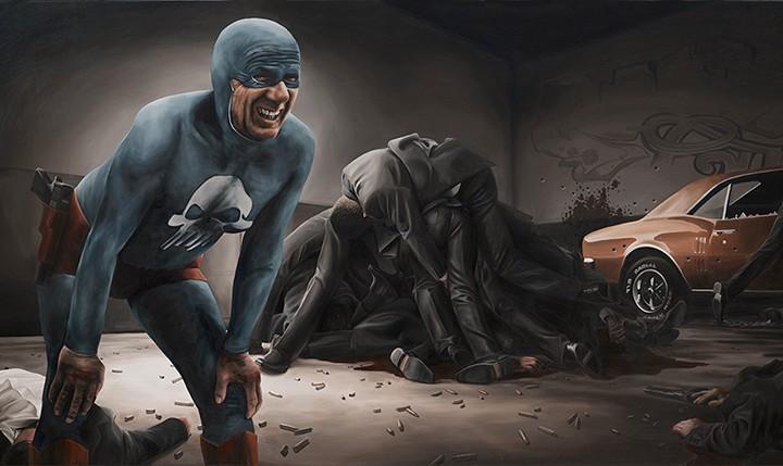 El superheroe que envejece después de una batalla.