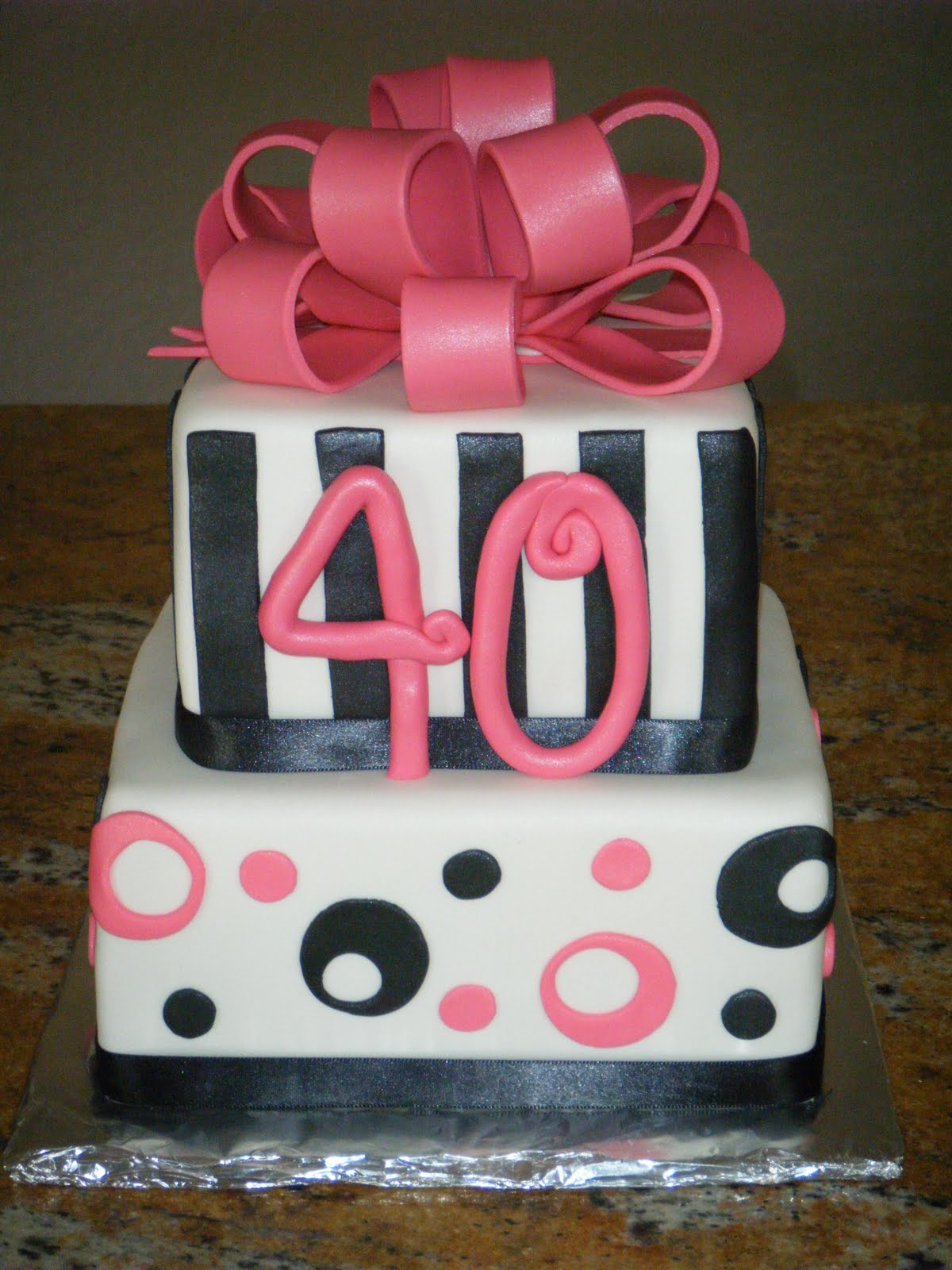 Cassy s Cakes: Pink, black and white 40th birthday