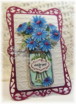 Stamps - Our Daily Bread Designs Daisy, Antique Label Designs, Blue Ribbon Winner, Ornate Borders Sentiments, ODBD Custom Ornate Borders and Flowers Die, ODBD Custom Canning Jars Die