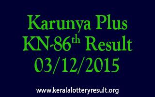 Karunya Plus KN 86 Lottery Result 03-12-2015