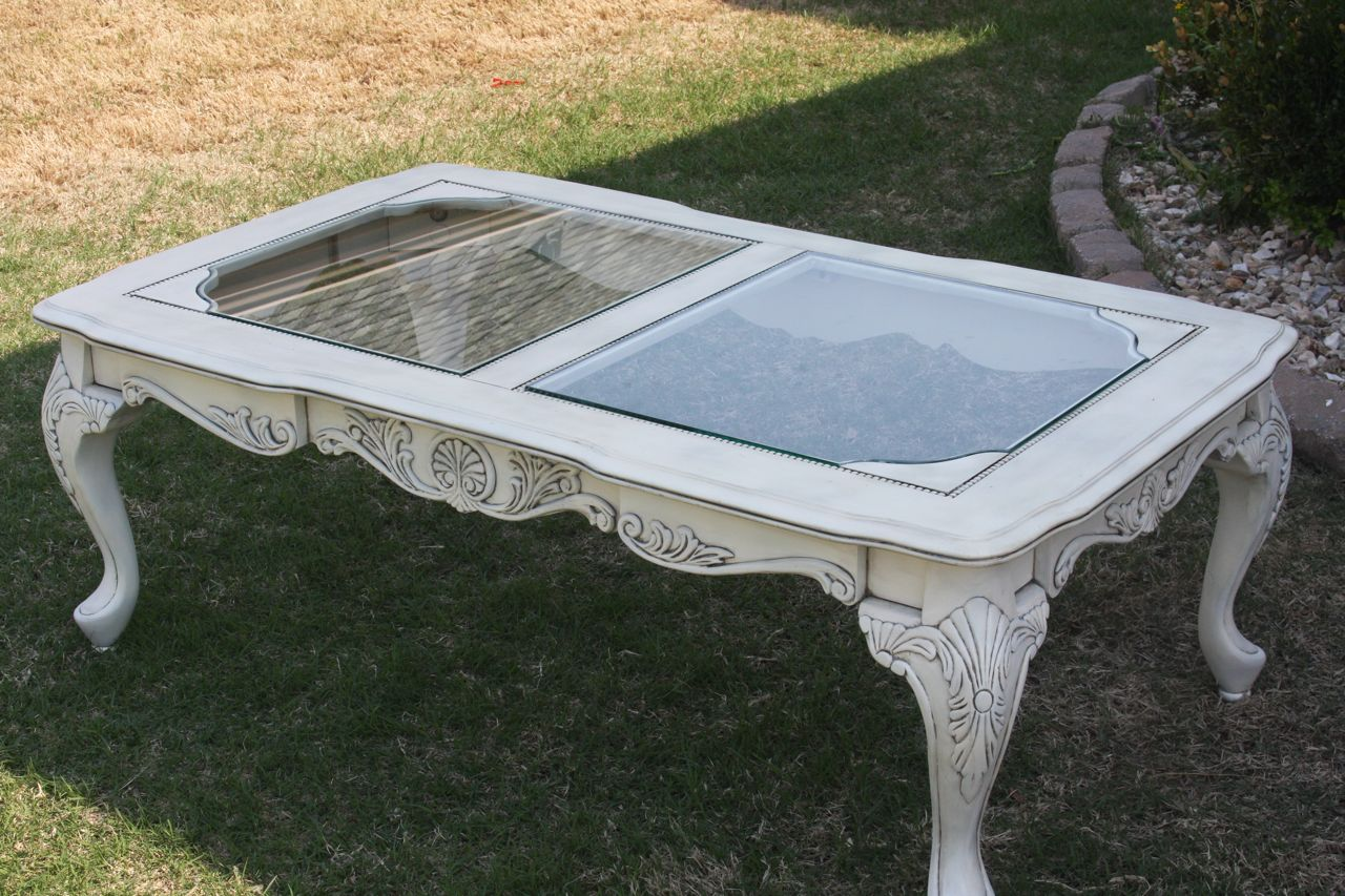 The Painted Paisley Elegant Coffee Table White Lightly Glazed