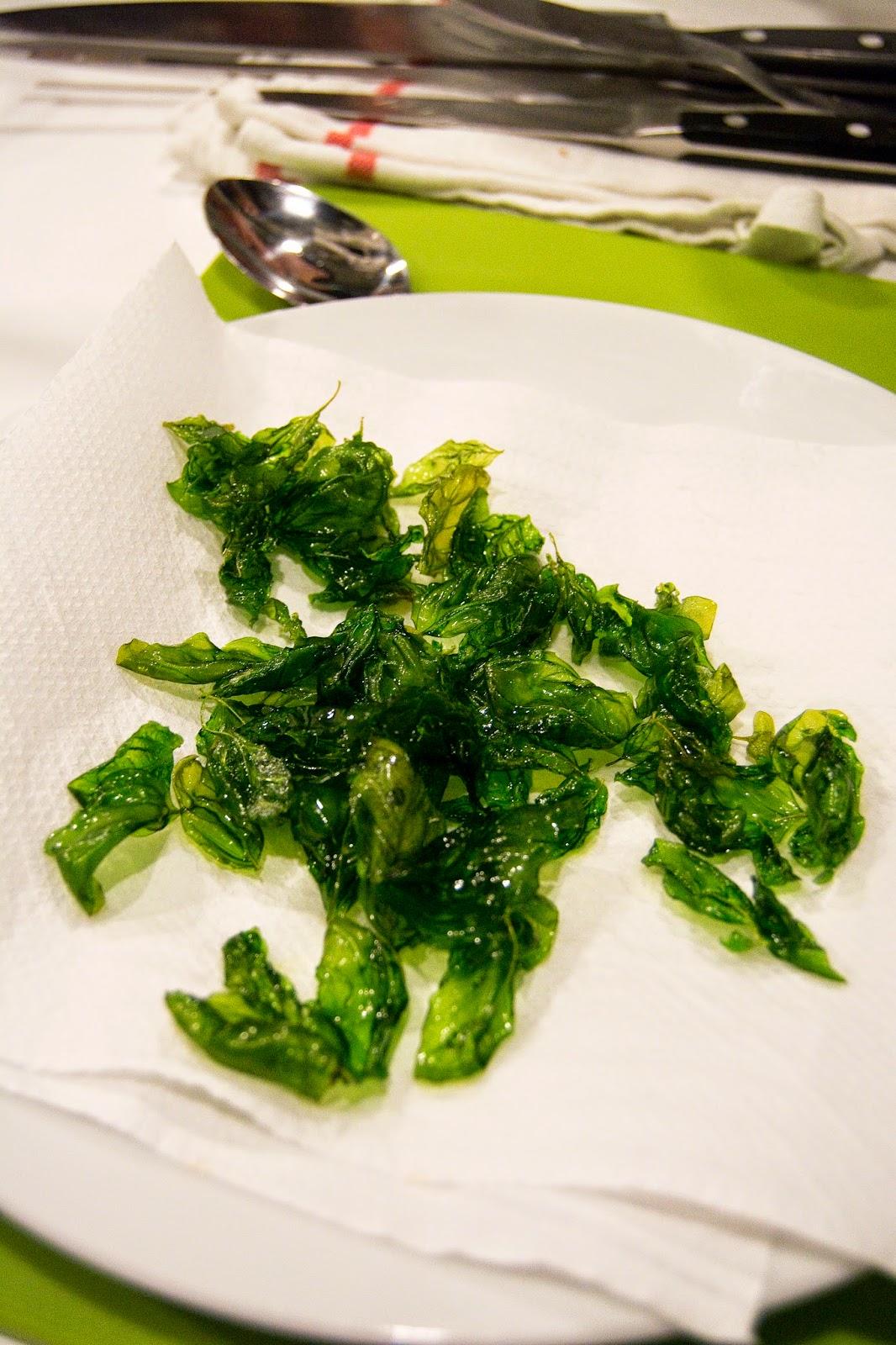 Atuty - krótki kurs kuchni francuskiej - chipsy bazyliowe