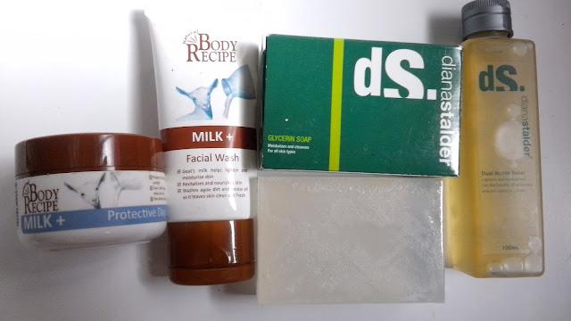 Body Recipe Milk + Protective Day Cream, facial wash, diana stalder glycerin soap, dual action toner,