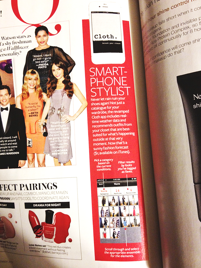 the Cloth app reviewed in InStyle magazine