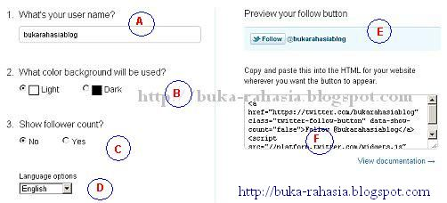 cara pasang follow button