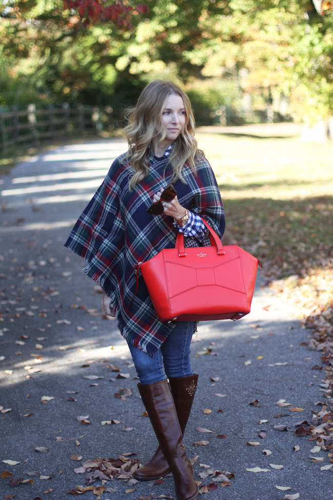 plaid cape, kate spade bag, tory burch boots