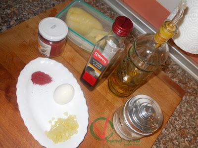 Ingredientes para la vinagreta de sumac.