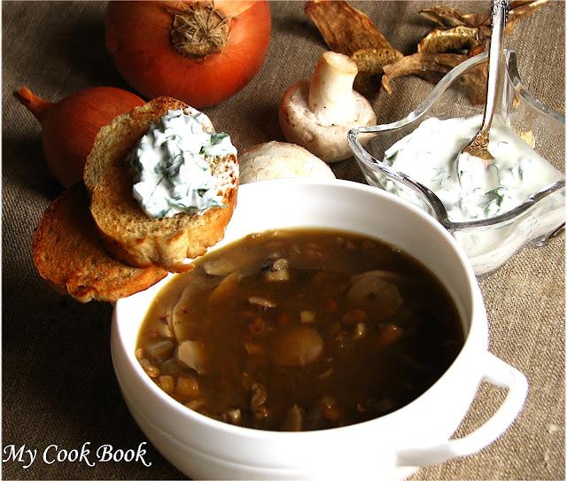Грибной суп с чечевицей рецепт