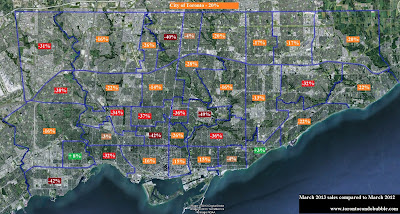 toronto map of areas with falling sales