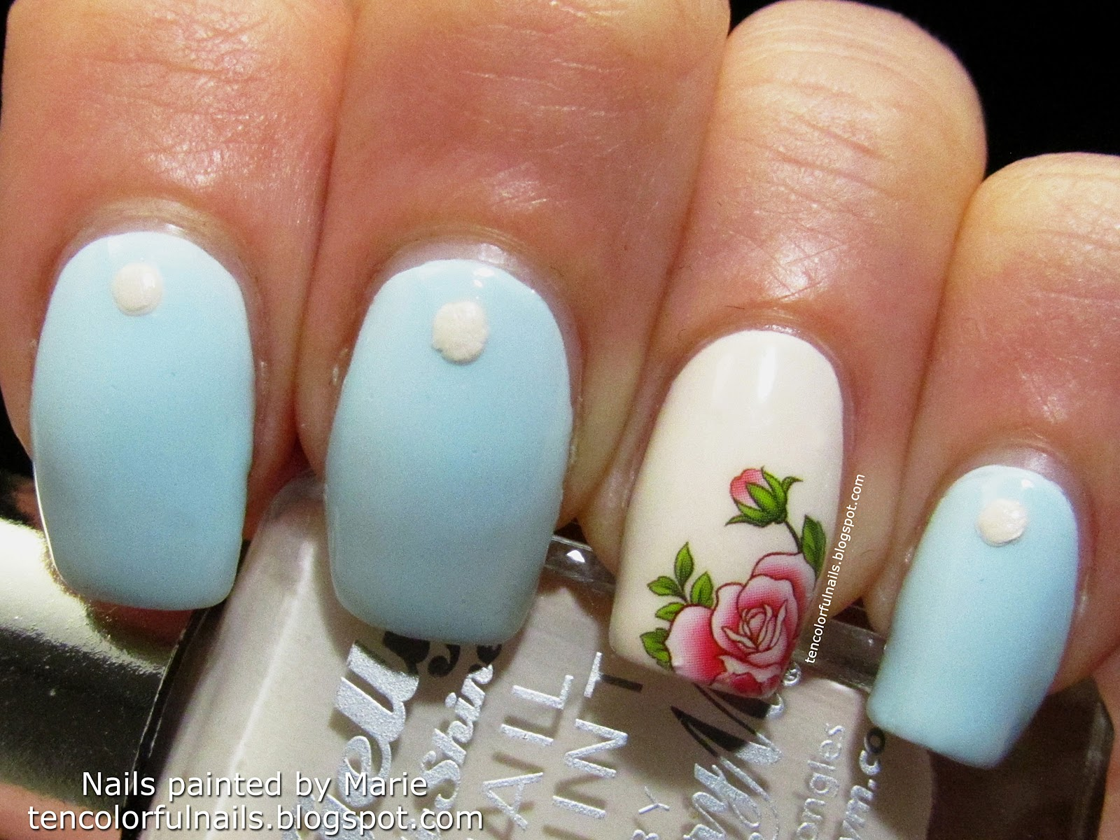 Ten Colorful Nails: Blue Manicure with Rose Accent Nail