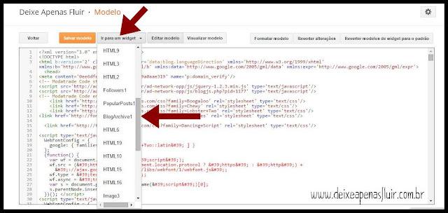 Procure por BlogArquive1 no menu Ir para um Widget