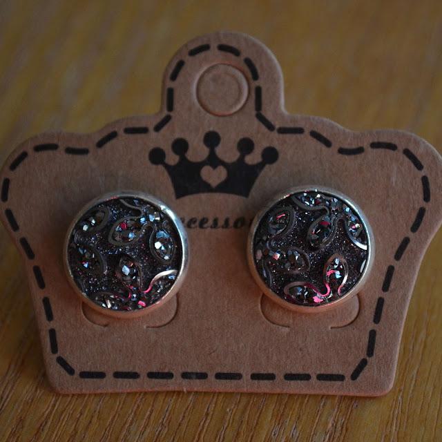 Gunmetal Silver Plated Studs Stud Earrings Faux Gemstone Faux Druzy