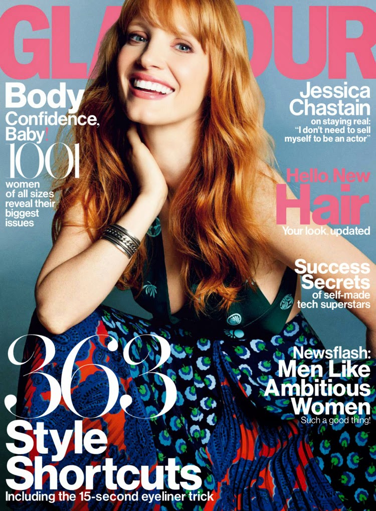 Jessica Chastain is featured for the Glamour US November 2014 cover story