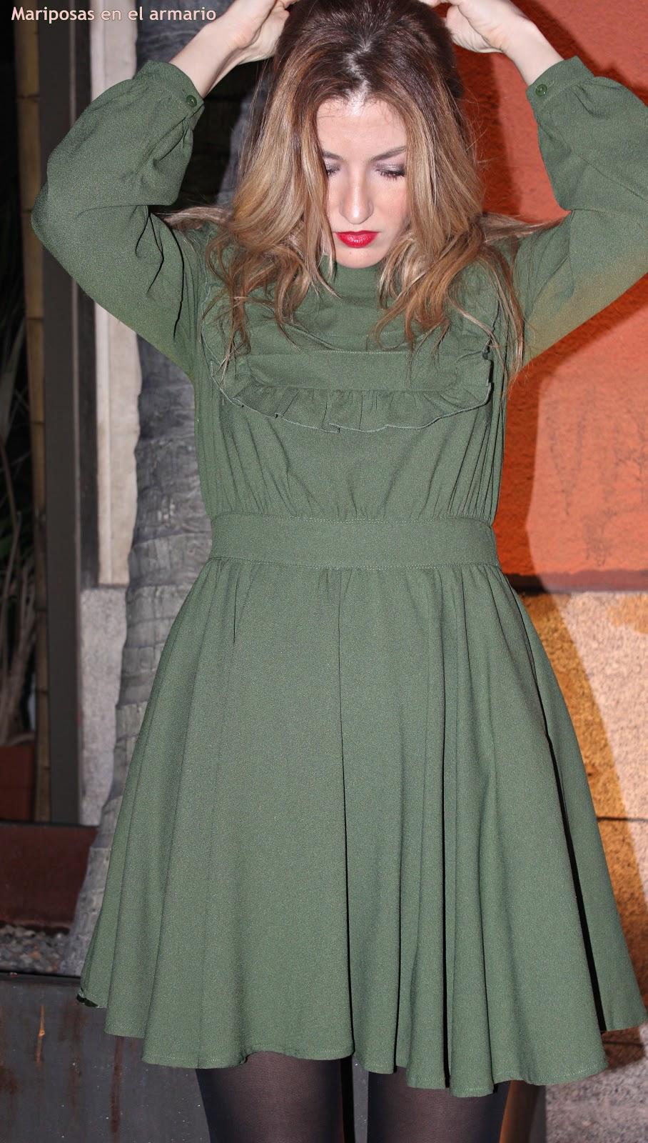 Vestido verde de invierno