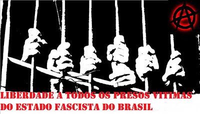 http://www.facebook.com/pages/Anarquistas/378066755607147     SINDIVÁRIOS Araxa EA criminalización de la protesta social. El SINDIVÁRIOS Araxa FOM / COB / AIT trata de un informe público sobre los últimos acontecimientos Araxa.  * ¿Cómo es el conocimiento de todo sigue en una lucha social más de 5 años en contra de la situación del transporte público y por las manifestaciones piquetes en todo el país se convirtió en grandes grandes marchas del pueblo, en este Lunes 24/06/2013 piquetes y avenidas de bloqueo para servir sólo reclamos, SINDIVÁRIOS Araxa miembros, estudiantes, obreros y trabajadores son brutalmente atacados por la policía o un intento de negociar la liberación de la avenida, varios compañeros son arrestados y acusados de delitos graves que no son culpables .    Los cargos de conspiración, desacato, desobediencia y también tener todos los materiales como pancartas y banderas incautadas por la policía. Dicho, todos los acusados son inocentes y lucharán por la libertad y el bienestar de la clase trabajadora nunca.    Nuestros compañeros tendrán un día de solicitud de audiencia 10/07/2013 afirma que la verdad, no esperamos la justicia por parte del Estado, porque este defensor eterno probada de la clase opresora hasta ahora en este caso con su agresión y las cargas desproporcionadas un acto pacífico y lugar común donde nada manifestantes acusan cierto.  Protestamos contra tales quejas y solicitud de solidaridad completa a todos los presos y perseguidos por hablar. Contra la criminalización de la protesta social en Brasil.  SINDIVÁRIOS Araxa FOM / COB / AIT           http://sindivariosaraxa.blogspot.com.br/2013/06/sindivarios-araxa-e-criminalizacao-do.html