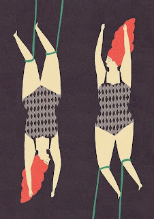 Illustration of a circus trapeze duo by Naomi Wilkinson