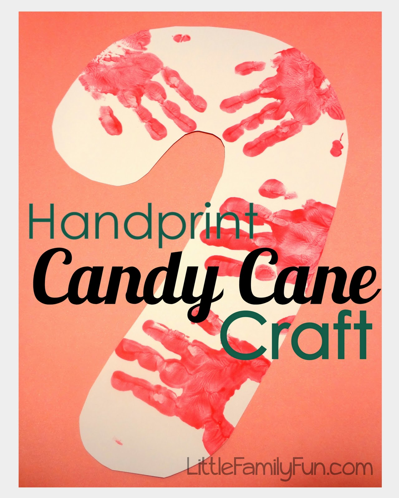 Handprint candy cane craft for Holiday project