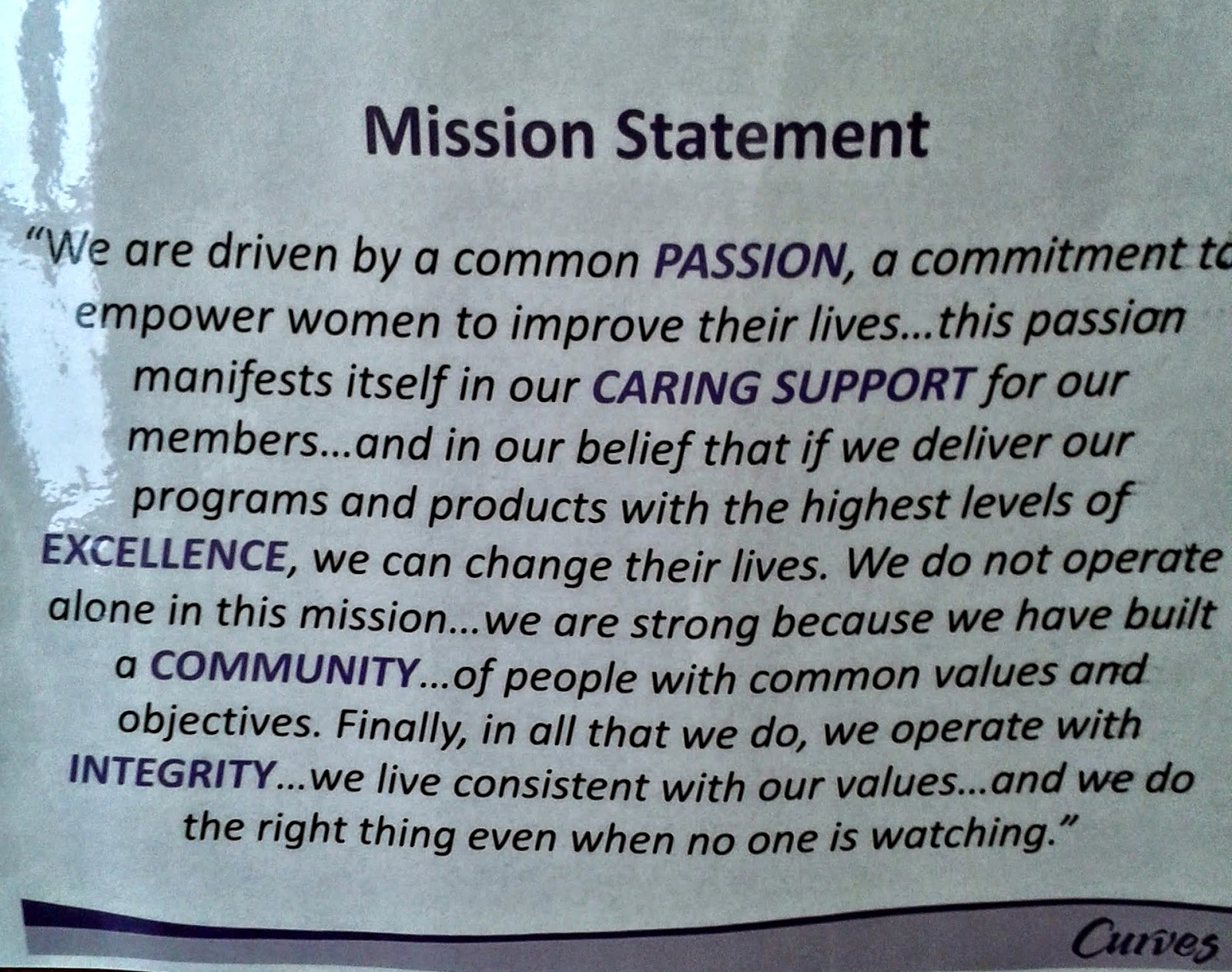 The Curves mission statement.