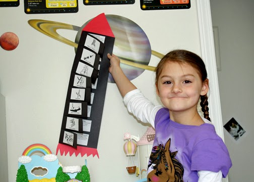 Tessa completed a rocket-shaped timeline of some of America's most important spacecrafts.