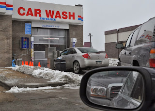 Line of Cars At Car Wash in Winter