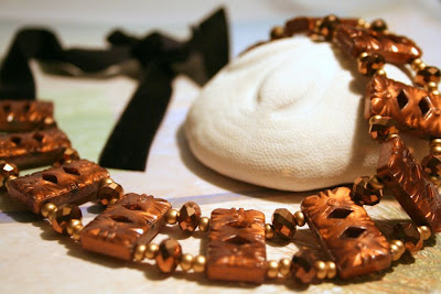 Victorian October Evening: vintage brown beads, Czech crystals, velvet ribbon :: All Pretty Things