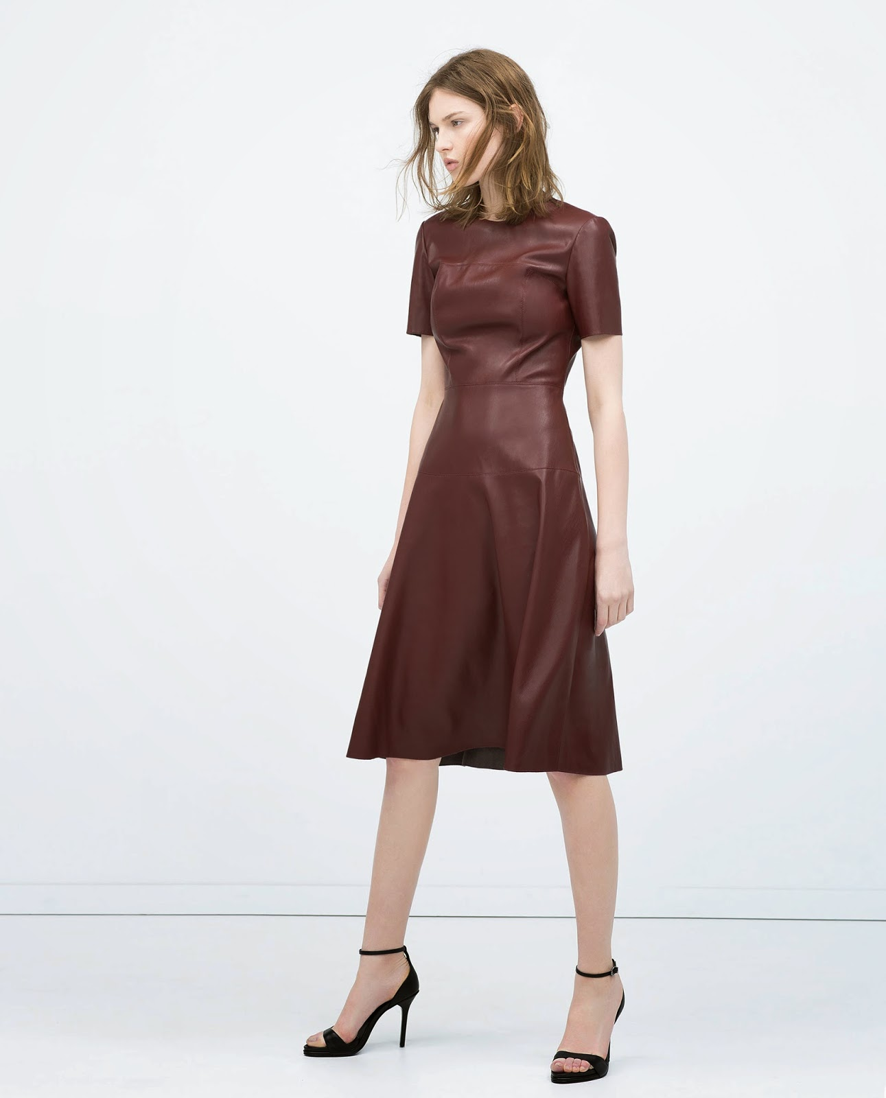 zara burgundy dress, zara leather dress,