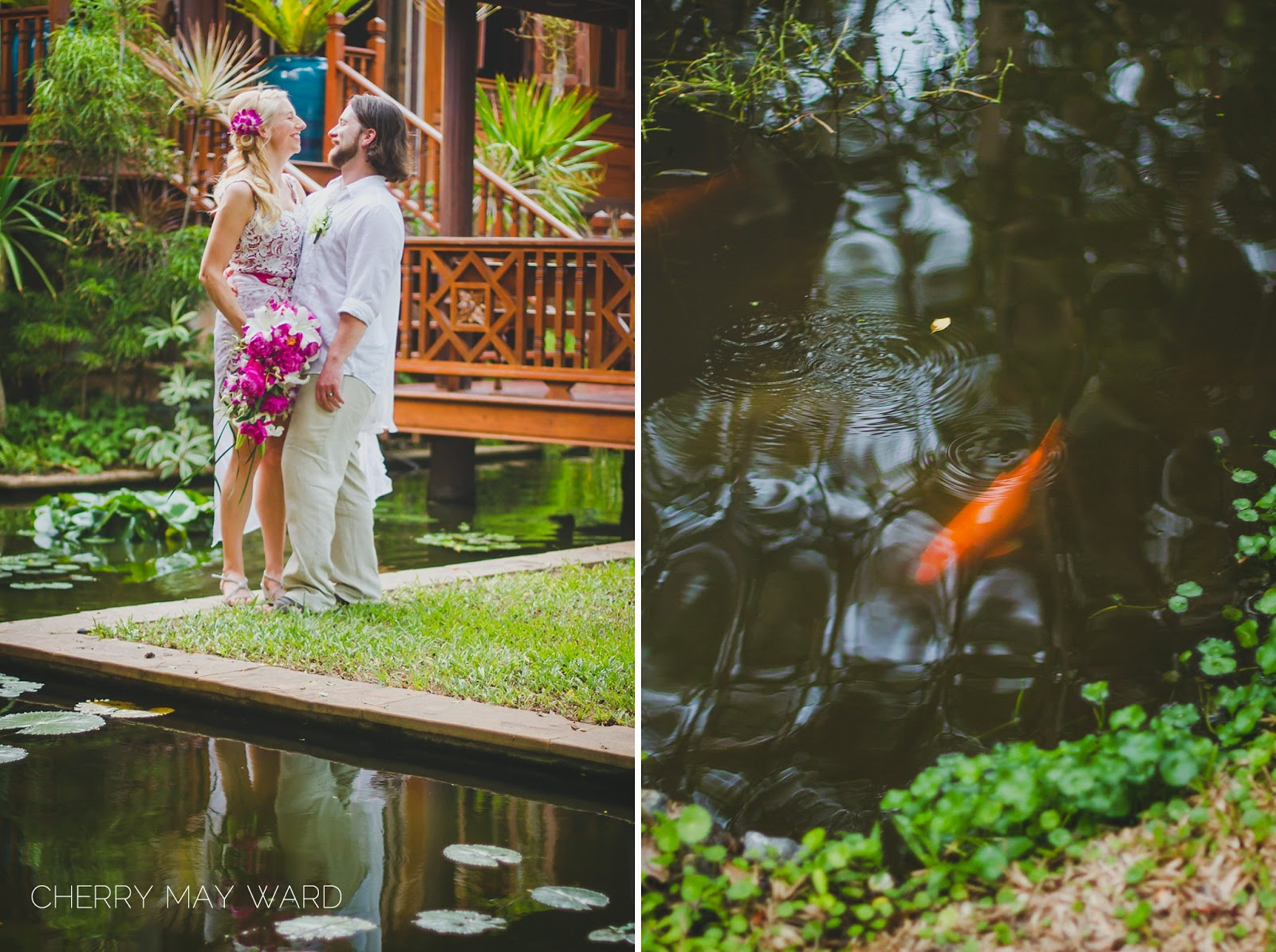 bride and groom portraits in Thai villa gardens, fish in pond in gardens, beautiful bride and groom portraits in Thai gardens, destination wedding, classic Thai style villa