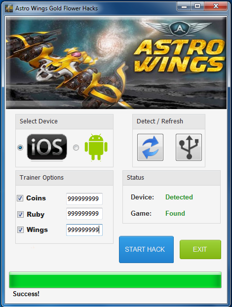 Astro Wings Gold Flower cheat