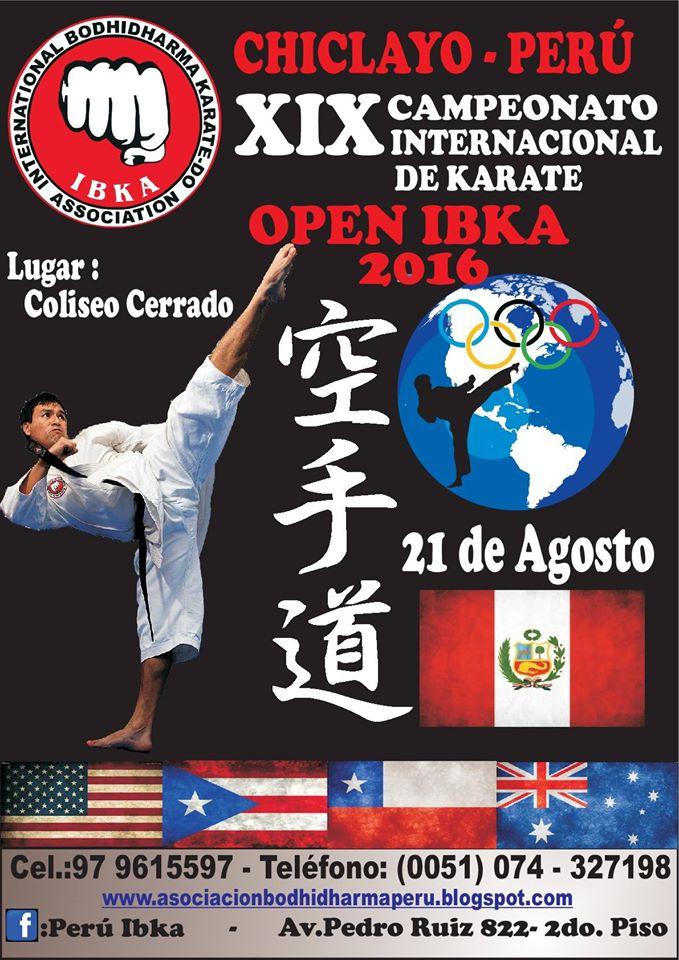 "XIX CAMPEONATO INTERNACIONAL DE KARATE ""Open IBKA 2016"" Chiclayo-Perù"