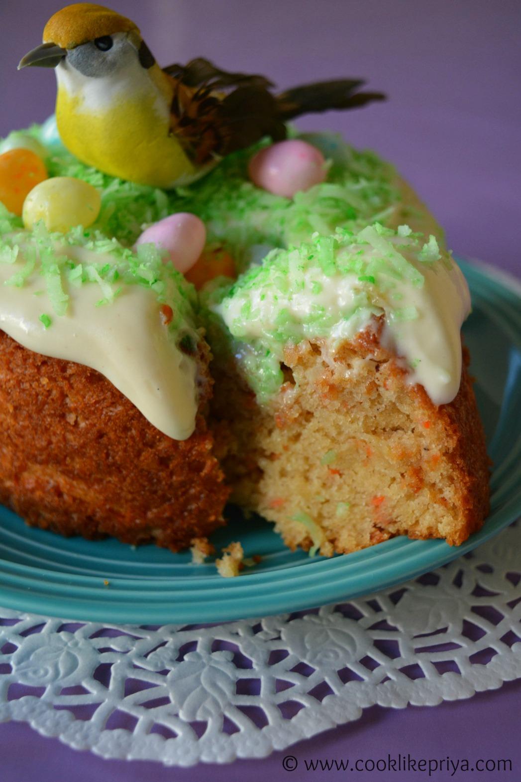 Butterless Eggless Carrot cake recipe