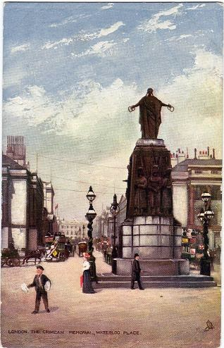 Vintage postcard of the Crimean Memorial, Waterloo Place, London