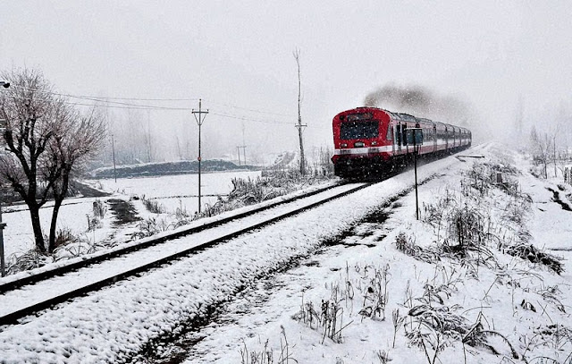 snow and train