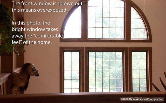 Real estate photo, main window overexposed