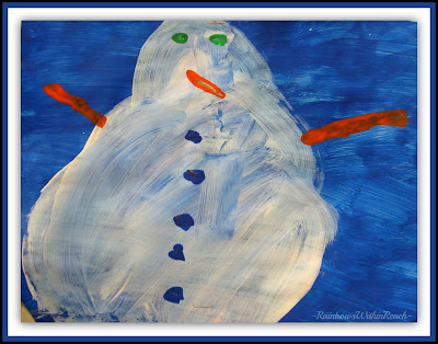 photo of: Snowman Painting with Tempra Paint via RainbowsWithinReach