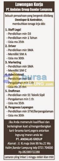 Lowongan Kerja Lampung, 14 Agustus 2014 - PT. Andalas Group