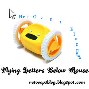 flying letters below mouse