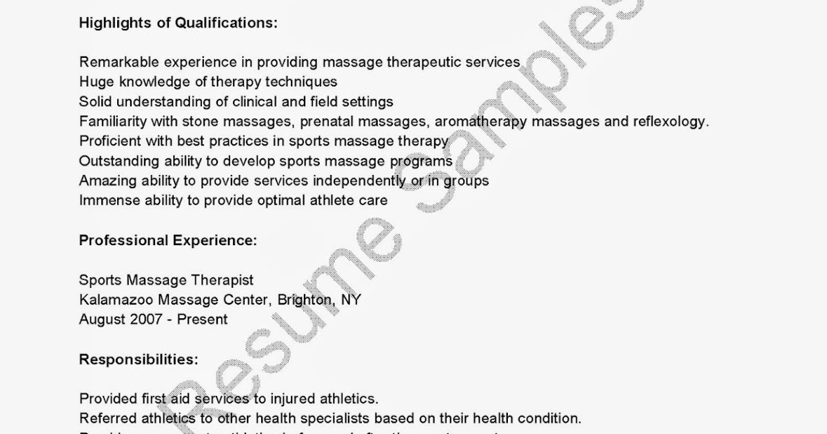Resume Massage Therapy Resume  Massage Therapy Resumes