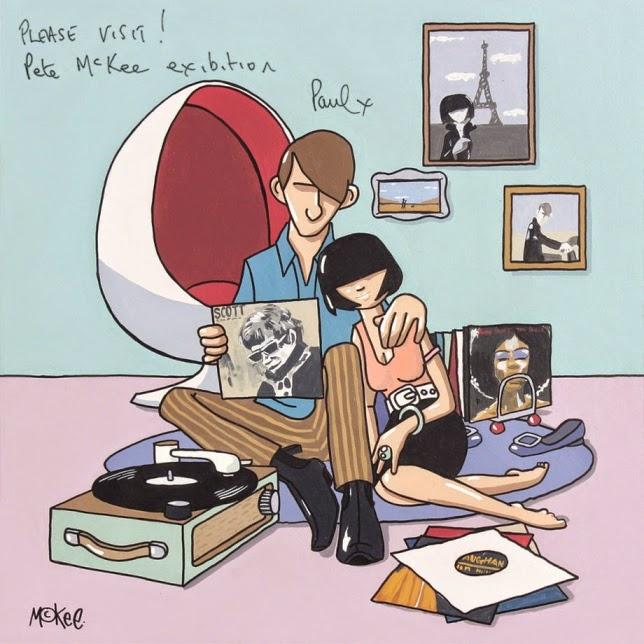 Perfekte Wanddeko für Vinyl-Freaks zum Einrichten - Pete McKee malt Plattenladen und Musikhörer in Comic-Design