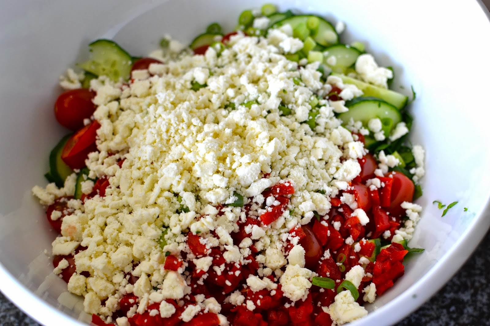 Feta Cheese, Cucumbers, Roasted Red Peppers, Tomatoes, Onion