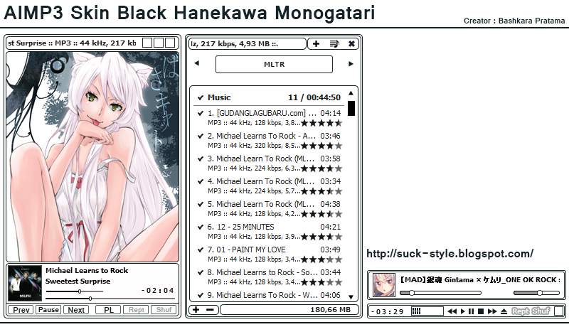 AIMP3 Skin Black Hanekawa Monogatari By Bashkara