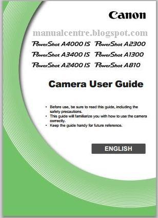 Canon PowerShot A2300 Manual Cover