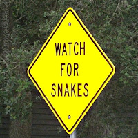 "Watch for Snakes sign.  ""Warning"" poem. brokenbreadandsmallfish.com"