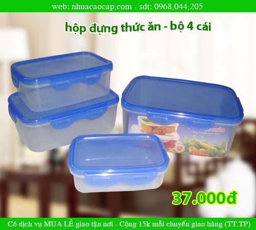 Hộp nhựa đựng thức ăn, bộ 4 CÁI, Sử dụng được lò VI SÓNG, (Hộp VUÔNG đựng THỨC Ă